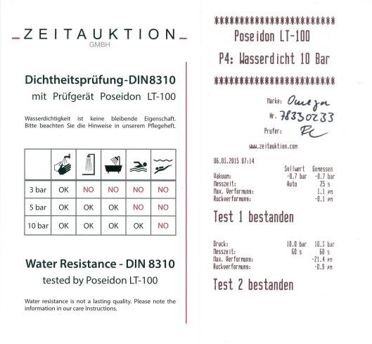 Wasserdichtigkeitstest einer Omega mit Prüfgerät Poseidon LT-100