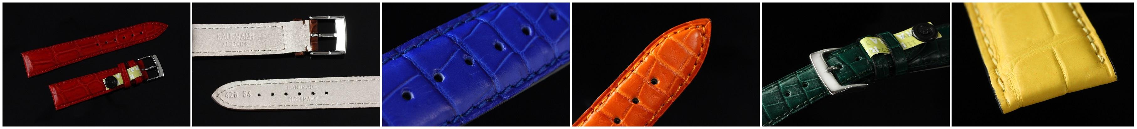 Kaufmann Uhrenarmbänder aus Alligatorleder Full Cut mit Dornschließe | verschiedene Farben