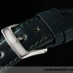 Kaufmann Uhrenarmband aus Pferdeleder (Shell Cordovan) flach mit Dornschließe | dunkelgrün