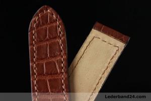 Fluco Uhrenarmband aus Alligatorleder (Louisiana) flach für Faltschließe | braun