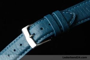 Kaufmann Uhrenarmband aus Kalbsleder (Taurillon) flach mit Faltschließe | dunkelblau