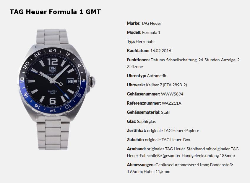 Gewinnspiel - TAG Heuer Formula 1 GMT - Informationen zur Uhr